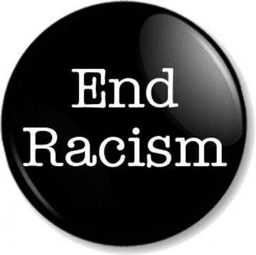 End Racism Pinback Button Badge Political Protest Equal Rights Activist - Black